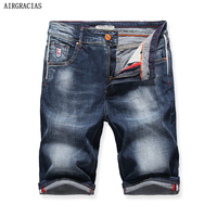 AIRGRACIAS Shorts Men Blue Short Jeans Straight Retro Shorts Jean Bermuda Male Denim Brand Clothing