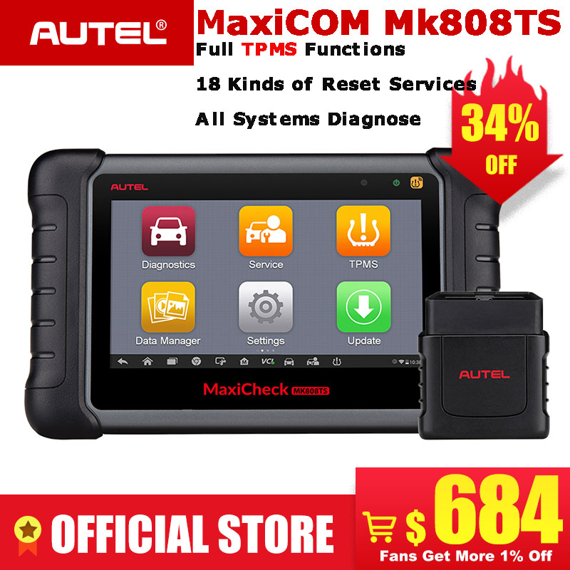 Autel MaxiCOM MK808TS Automotive OBD2 Car Diagnostic Scan Tool OBD 2 Bluetooth Scanner Programming TPMS MX Sensor PK MK808 TS608-in Code Readers & Scan Tools from Automobiles & Motorcycles