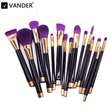 Vander 15pcs Purple Makeup Brushes Set Make Up Brush Tools Cosmetic Professional Foundation Brush Kits Blending Pencil Kabuki(China)