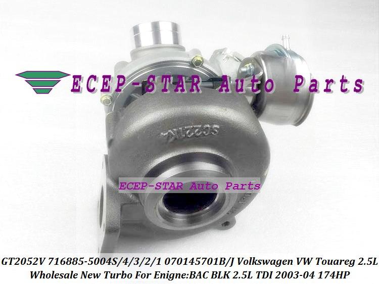 GT2052V 716885 716885-0003 716885-5003S 716885-0001 070145701JV250 070145701JV244 070145702BV100 Turbo For VW Touareg BLK 2.5L