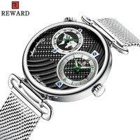 REWARD Brand Luxury Men Watch Japan imported Dual movement dual time zone Waterproof Watches men relogio masculino montre homme