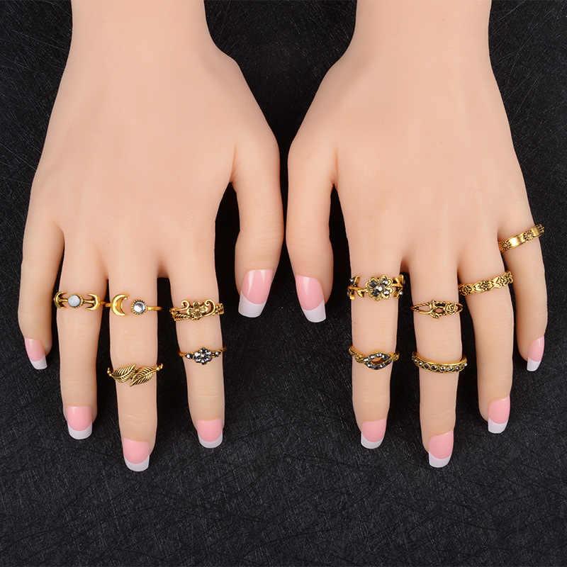 2018 neue 11 teile/satz Boho Vintage Punk Antike Blume Geschnitzt Midi Finger Ringe Für Frauen Bohemian Knuckle Ring Set Schmuck Anillos