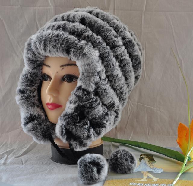 Venta caliente del conejo del sombrero de piel sombrero de cuero genuino oído tapa protectora de las mujeres caliente-venta de pelo de conejo rex eslpodcast,