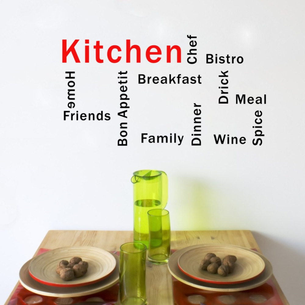 Kitchen Words French Bon Appetit Creative Vinyl Wall Stickers Dining Room Decoration