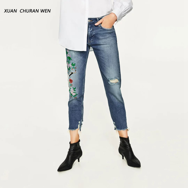 Women Wipped Trousers Mid Waist Jeans Women Boyfriend Pants Embroidery Denim Jeans Holes Loose Spring Autumn