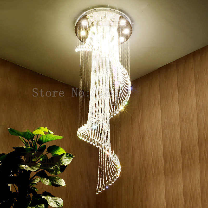 DHL Modern hotel crystal chandeliers Dia800*H2600mm villa duplex stairs hall led light hotel crystal chandeliers JF1300