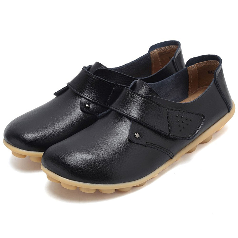 Women Ballet Flats Loafers Genuine Leather Hook Loop Round Toe Casual Shoes Sapato Feminino designer women loafers flower genuine leather shoes ladies moccasins ballet flats round toe casual zapatos mujer size 35 44