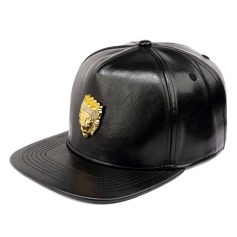 Nyuk herren luxus einstellbare pu leder gold strass krone löwenkopf - Bekleidungszubehör - Foto 2