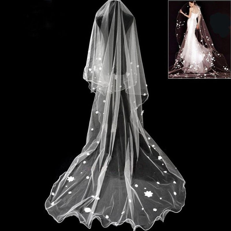2.8M 1 Layer Women Bridal Long White Wedding Tulle Veil Ruffles Starry Sky Faux Pearl Floral Heart Applique Without Comb