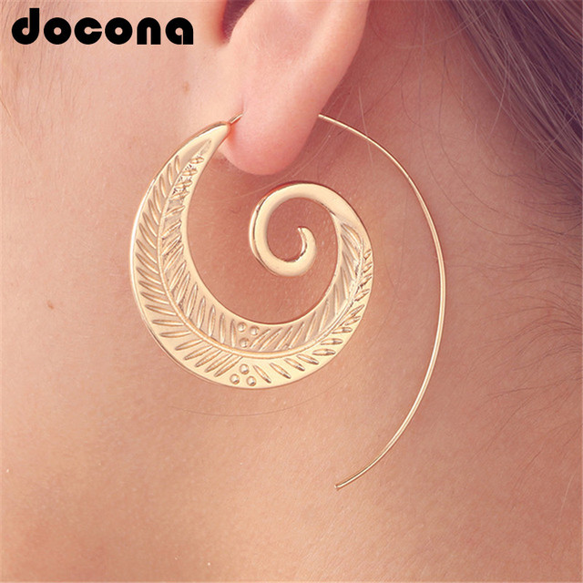 docona Punk Personality Round Spiral Drop Earrings Exaggerated Circle Leaf Whirl