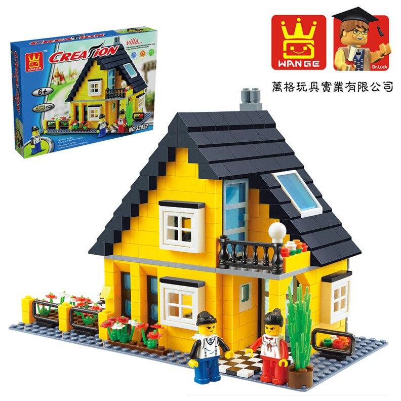 Model building kits compatible with lego Villa Series 3D blocks city street Educational model building font