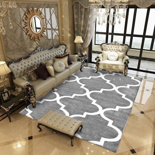 Honlaker Moderne Géométrique Rayé Salon Tapis Maison Mode De Sol Décoration  Doux Antidérapant Chambre Table