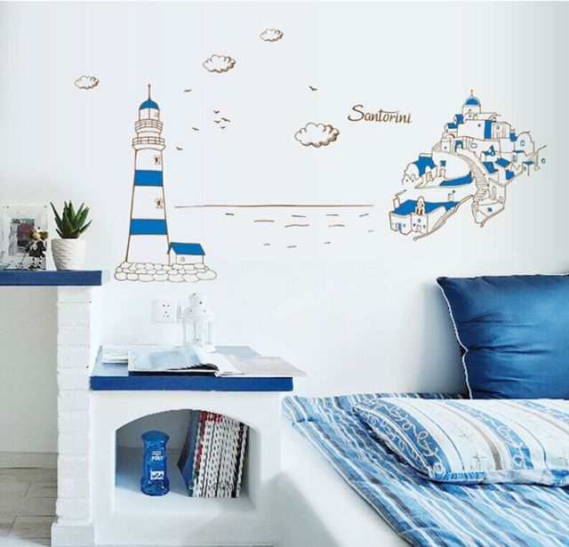 Romantic Mediterranean Style Santorini Sea Building Wall Stickers ...