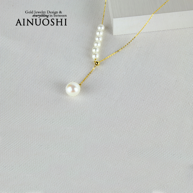 AINUOSHI 18K Yellow Gold Natural Cultured Freshwater Pearl Pendant Necklace 2016 New Top Quality Women Genuine Gold Link Chain