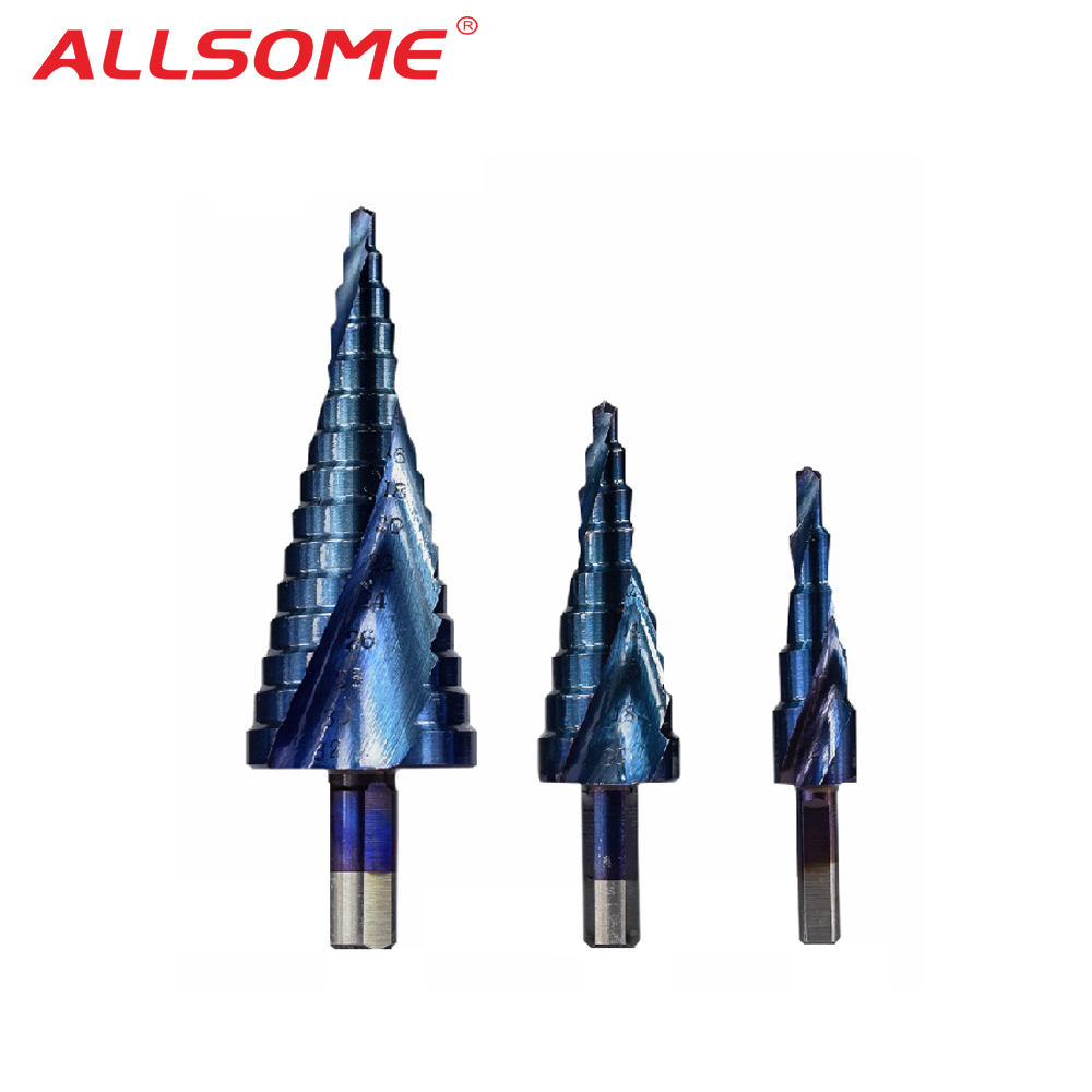 ALLSOME 3PCS 4-12/20/32mm HSS Spiral Grooved Center Solid Carbide Drill Bit P6M5 Super Blue Nano Coating Step Cone Drill Bit