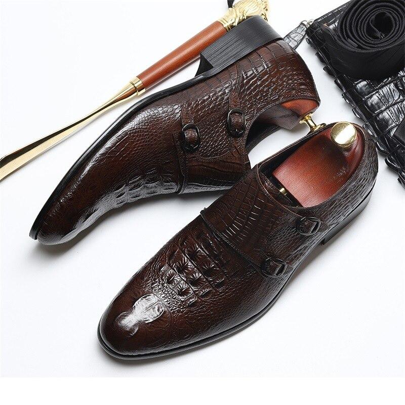 Hommes Chaussures Nouveaux Mariage Crocodile Cuir Pointu Black coffee De 2018 Véritable En Robe D'affaires 5qFwtqd