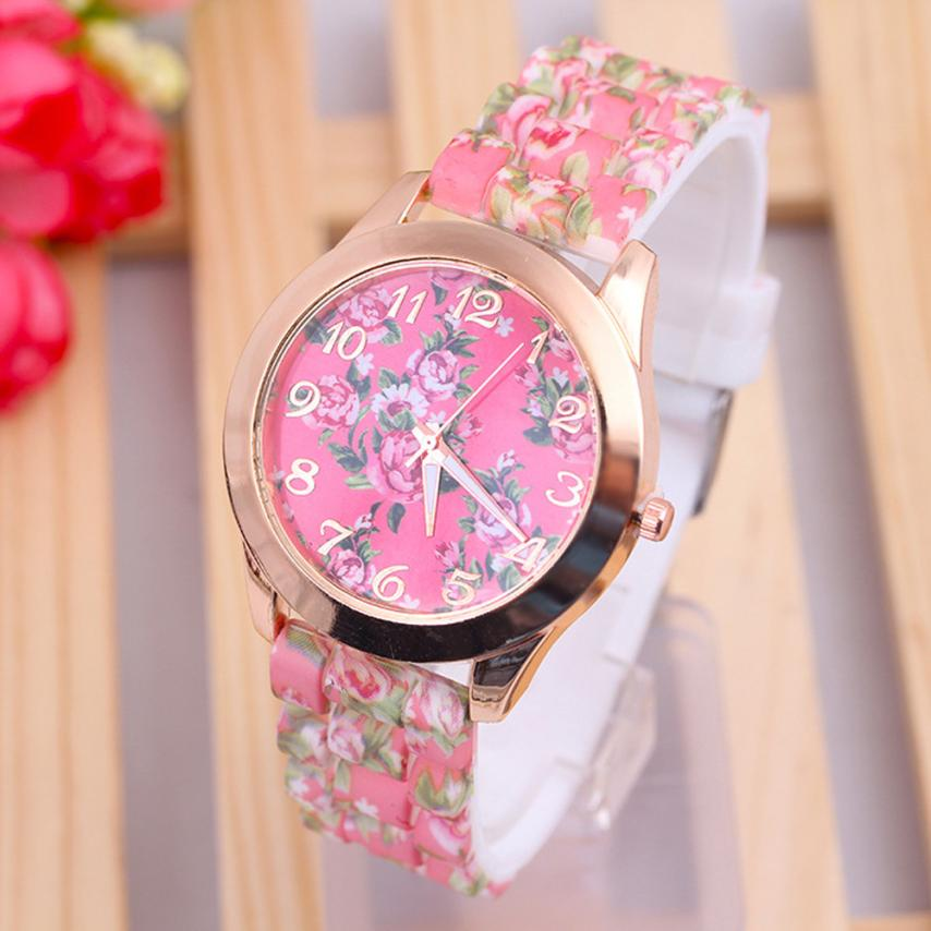#5001 Leisure Woman Fashion Woman Watch Women  Leisure Time Rose Analog Silica Gel  Wrist Watch analog watch