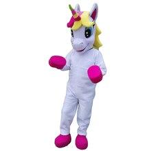 Eenhoorn Mascot Kostuum Paard Mascotte Kostuum Parade Kwaliteit Clowns Verjaardagen Voor Volwassen Dier Halloween Party Kostuums