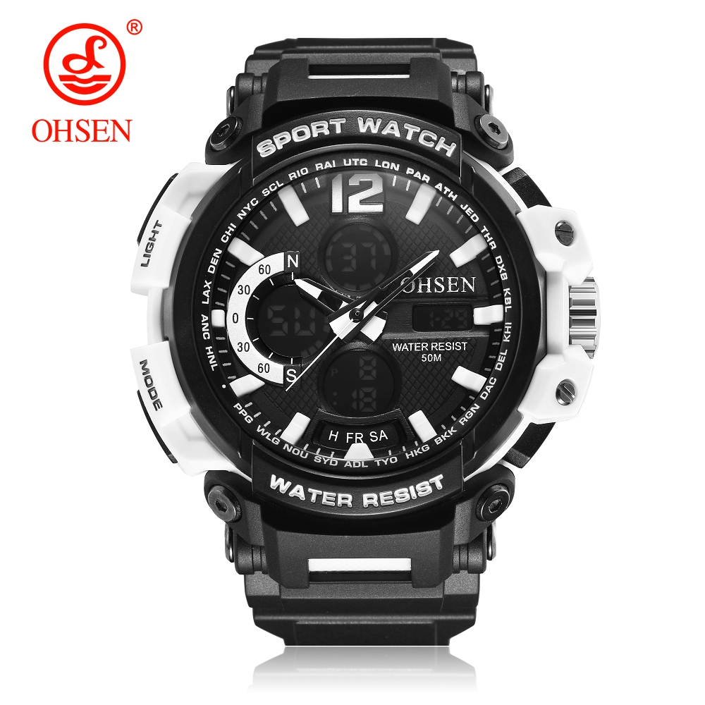 Hot Sale OHSEN Fashion Quartz Digital Watch Men LED Alarm Waterproof Sports Watch Mens Rubber Band Army Wristwatch Montre Homme starry pattern gold plated alloy rhinestone stud earrings for women pink pair