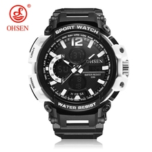Hot Sale OHSEN Fashion Quartz Digital Watch Men LED Alarm Waterproof Sports Watch Mens Rubber Band Army Wristwatch Montre Homme hot sale fabulous fashion men led digital date sport military rubber quartz watch alarm relogio relojes mujer 0215