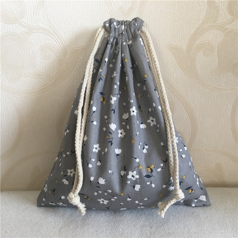 YILE Cotton Twill Drawstring Travel Organizer Bag Party Gift Bag Print Mini Flower Gray 8705D