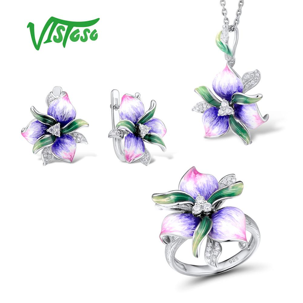 VISTOSO Jewelry Sets For Woman White Cubic Zirconia Pink Flower Earrings Pendant Ring 925 Sterling Silver