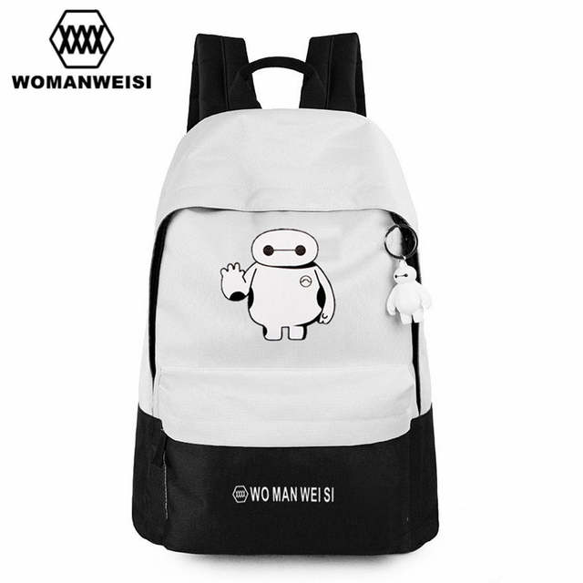 32e17c1e47ef placeholder Cute Baymax Black And White Oxford Backpack For Teens Fashion  Brand Anime Women Backpack Youth School