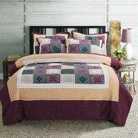 CHAUSUB Vintage Patchwork Quilt Set 3 pz/4 pz Lavato Cotone Copriletto Set Copriletto Copriletto Lenzuola Biancheria Da Letto Trapuntato King Size