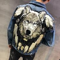 YASUGUOJI New 2019 Punk Style Novel Wolf Embroidered Rivet Jean Jacket Men Denim Jackets Streetwear Slim Jeans Jacket for Men