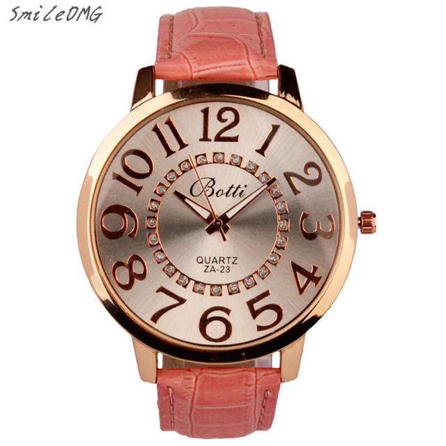 SmileOMG New Hot Marketing Womens Fashion Numerals Golden Dial Leather Analog Quartz Watch Free Shipping Christmas Gift,Sep 5