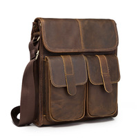 New Fashion Quality Leather Multifunction Male Casual messenger bag Satchel cowhide 10 Cross body Shoulder bag For Men 009db