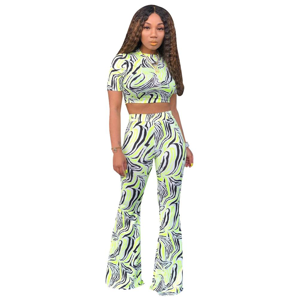 2019 Summer Printed Zebra Colour Two Piece Set Short Sleeve Crop Tops With Trousers Bell Pants Women's Outfit