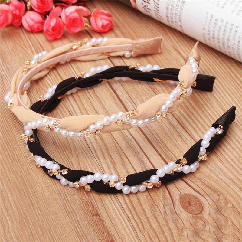 ヘアバンドヘアアクセサリーファッション豪華な真珠ラインストーン髪フープヘッドバンドヘアバンド女性のための女の子ガーゼ