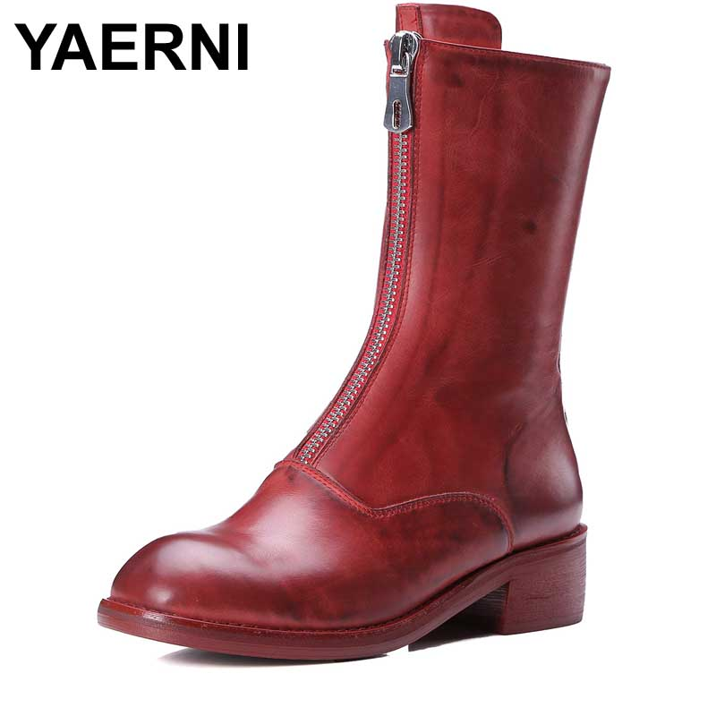 YAERNI2017 hot sale new arrive women boots fashion zipper square toe genuine leather autumn winter mid calf boots classic 2018 new arrival fashion winter shoe genuine leather pointed toe high heel handmade party runway zipper women mid calf boots l11