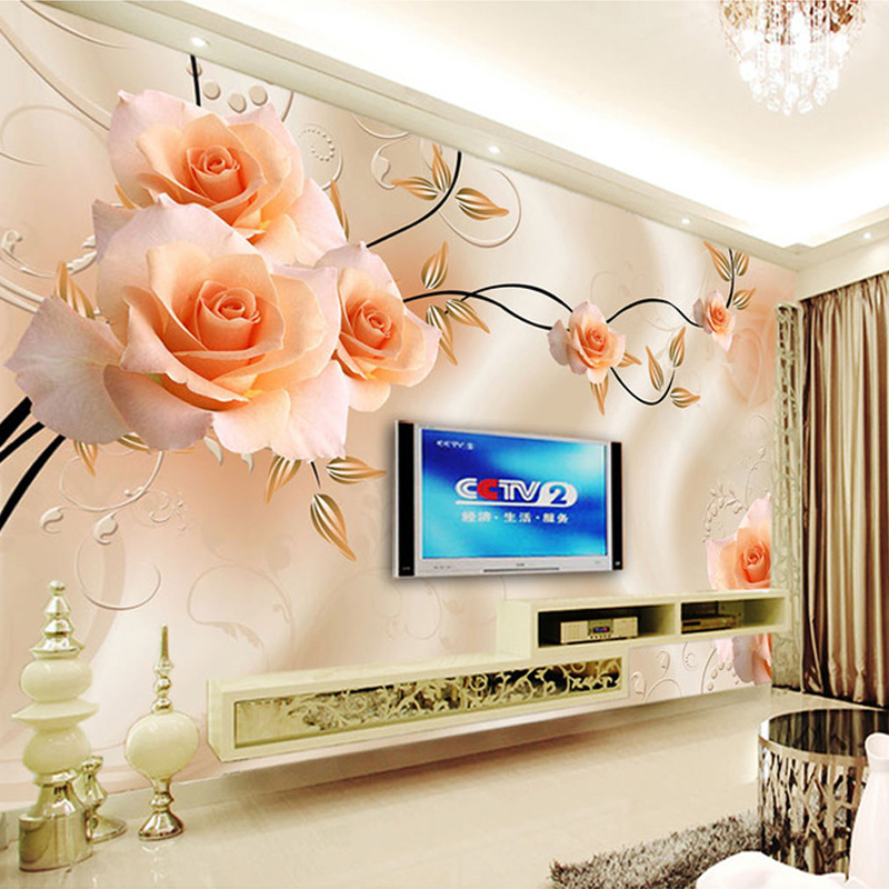 Flowers Wall Wallpapers Design For Your Bedrooms Decorating: Custom Photo Wallpaper Modern 3D Relief Roses Flower Wall