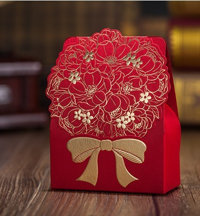 Gold Flower Wedding Favor Box 60pcs Red Candy Boxes Casamento Lace Favors And Gifts