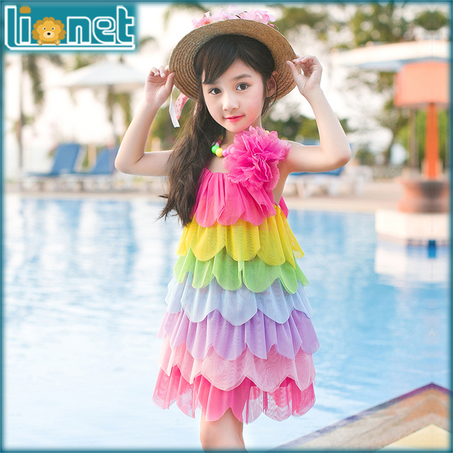 b40a07e5470f4 2016 Fashion Summer Girls Dresses For Kids Sleeveless Tiered Beach Dresses  Girls Casual Party Dress Children's Clothing 3 11 Y-in Dresses from Mother  ...
