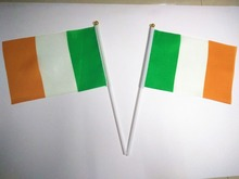 Wholesale Hand wave banners Ireland National flags polyester materials with pole 14*21 cm