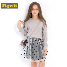 Figwit Girl Spring Autumn Long Sleeve Children Clothing Set 2 Pcs Polka Dot Skirt Kids Coat Sweater For Teen 6 8 10 12 Years