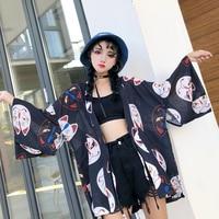Fannic Women Cardigan Kimono Harajuku Half Sleeve V neck Blouses Tops Cat Print Coat Loose Black Red Chiffon Shirts Blusas