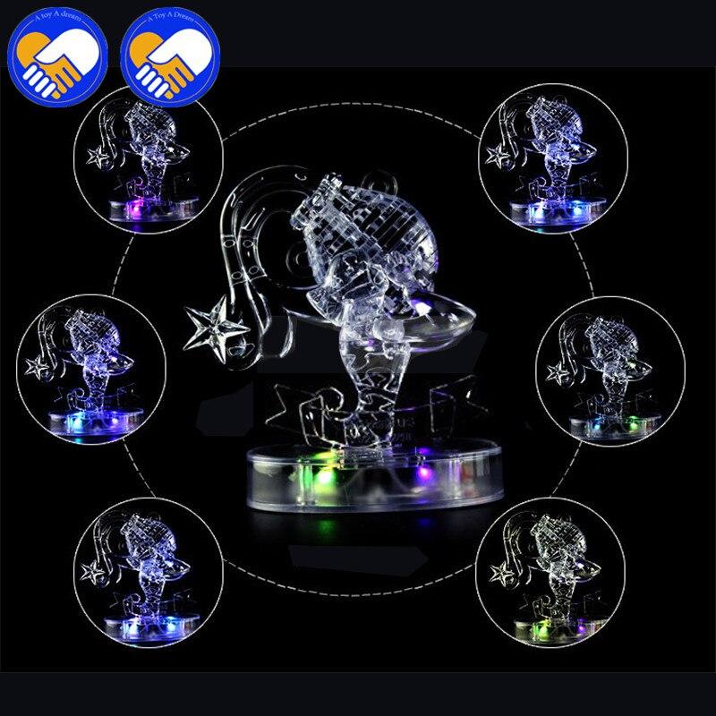 Игрушка Мечта 3D Crystal Puzzle мигающий светодиод двенадцать созвездий гороскоп/Водолей головоломки игрушки развивающие Игрушечные лошадки