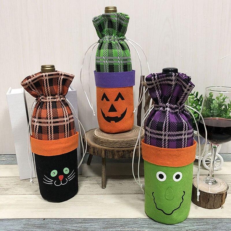 1 Piece Halloween Wine Bottle Decor Pumpkin cat ghost Bottle Cover Clothes Kitchen Decoration for Dinner Party