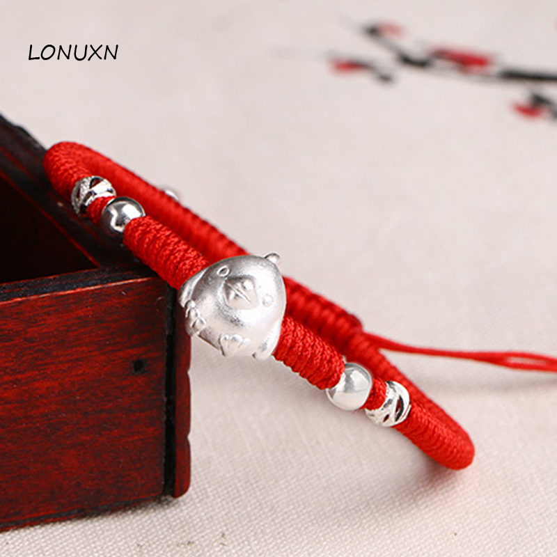 Cartoon chicken 12 Chinese zodiac Charm Couple Bracelets High Quality Red Rope 100% 925 Sterling Silver Bracelet Women Jewerly