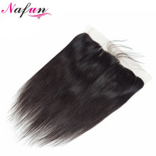 NAFUN Hair Malaysian Straight Natural Color Hair Lace Frontal Closure 13x4 Swiss Lace Non Remy Human Hair Closure Free Shipping(China)