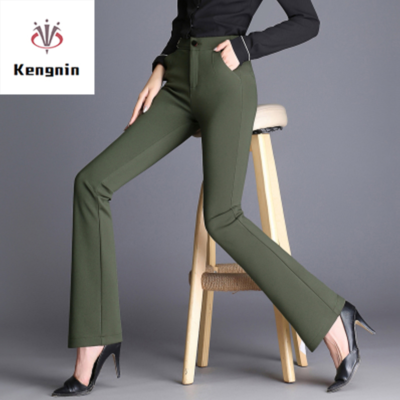 2019 Spring Summer Plus Size S- 5XL Women Trousers High Waist Smaller Flare Pants European Style Elastic Force Ladies Capris