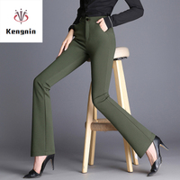 2019 Spring Summer Plus Size S 5XL Women Trousers High Waist Smaller Flare Pants European Style Elastic Force Ladies Capris