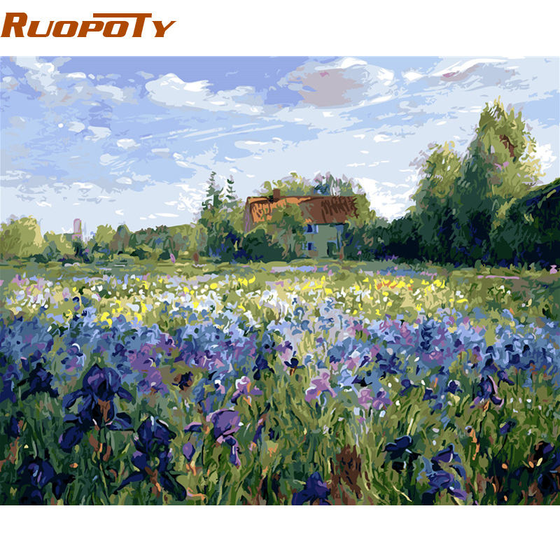 RUOPOTY Frame Picture DIY Painting By Numbers Flowers Unique Gift Calligraphy Painting For Home Decor 40x50cm Wall Artwork