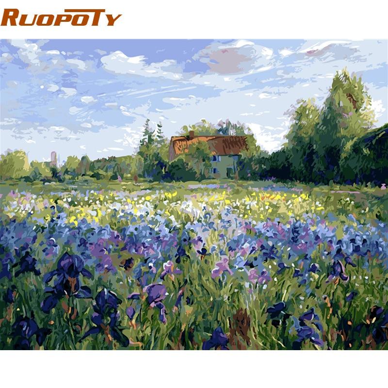 RUOPOTY marco cuadro DIY pintura por números flores regalo único caligrafía pintura para decoración casera 40x50 cm pared ilustraciones