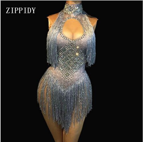 Fashion 4 Colors Sparkly Rhinestones Tassel Leotard Nightclub Dance Show Stage Wear Bodysuit Party Female Singer