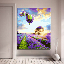 Modern Home Decor Wall Purple Flower Field And Hot Air Balloon DIY Painting By Numbers Kits Hand painted Oil Style Unique Gift